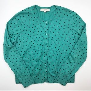 Ann Taylor Loft heart cardigan sweater top E15